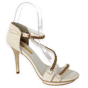 BCBGMaxAzria Priela Strappy Chain Embellished Heel